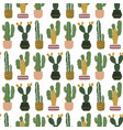 seamless pattern with cacti in pots scandinavian vector image