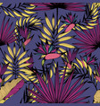seamless pattern with tropical flowers leaves and vector image vector image