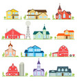 set of flat icon suburban american houses vector image vector image