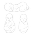 Set of Sleeping swaddled newborn baby vector image