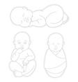 Set of Sleeping swaddled newborn baby vector image vector image