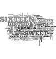 Sixteen word cloud concept