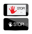 Stop symbol with palm hand on mobile phone device vector image