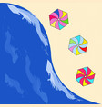 summer sea - beach with umbrellas on the sand vector image vector image