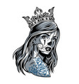 vintage chicano girl wearing crown vector image