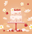 wedding cake in flat style vector image vector image
