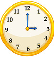 Yellow round clock with blue needles vector image vector image