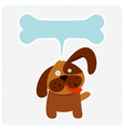 Cute dog with bone shape speech bubble vector image