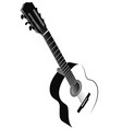 black and white image of acoustic guitar vector image