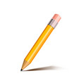 bright cartoon yellow pencil with pink eraser vector image vector image