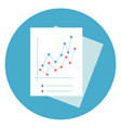 business documents with graphic chart icon round vector image vector image