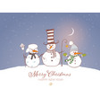 christmas card with cute snowman and rustic vector image vector image