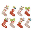 christmas socks xmas stocking or sock with vector image vector image