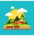 Color flat village landscapes vector image vector image