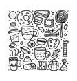 dessert set elements in doodle style vector image vector image