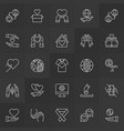 donation and volunteer icons in thin line vector image