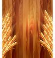 Ears of wheat on wooden background vector image vector image