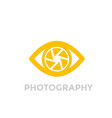 eye with aperture symbol photography logo vector image vector image