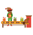 flat elf boy checking present toys vector image
