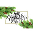greeting card with christmas tree and calligraphic vector image