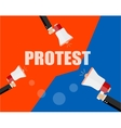 Hands holding protest signs and bullhorn crowd of vector image