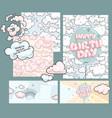 happy birthday baby design set vector image