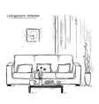 Home interior with couch and tableHand drawn color vector image
