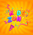 kids zone banner with party cracker and confetti vector image