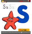 letter s with cartoon starfish vector image vector image