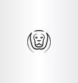 lion icon black line symbol vector image vector image