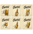 male hand holding a glass with rum cheers vector image vector image