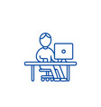 man working at computer at table line icon concept vector image vector image