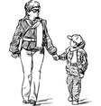 mother with her son on a walk vector image vector image