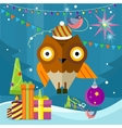 owl with christmas ball on new year background vector image vector image
