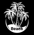 palm tree and waves a night beach vector image vector image
