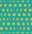 pattern golden coins isolated on green background vector image