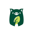 pig leaf negative space logo icon vector image vector image