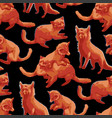 repeated seamless pattern cute orange foxes vector image