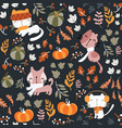 seamless pattern autumn theme hand drawn vector image vector image