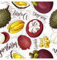 seamless pattern with fruits durian and vector image