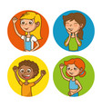 set of happy kids cartoon vector image vector image