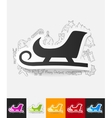 sledge paper sticker with hand drawn elements vector image vector image
