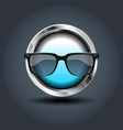 sun glasses steely rounded badge icon for uigame vector image