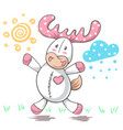 teddy deer love - cartoon funny vector image