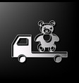 truck with bear gray 3d printed icon on vector image vector image