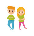 two little kids boy and girl with crossed arms vector image vector image