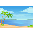 two palm trees and a bush sea vector image vector image
