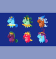 unicorns set cute fantastic animals characters in vector image