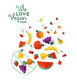 vegan food fruit for healthy eating vector image vector image