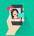 video call with girlfriend on mobile phone vector image vector image
